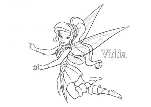 Vidia Violet Colored Dress Fast Flying Nature Fairy Tinkerbell Coloring Pages