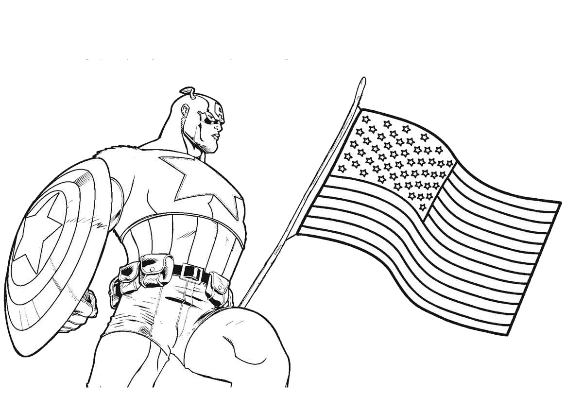 4th of July American Flag Captain America Coloring Pages Free Printable Pages