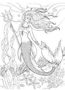 Artistic and Realistic Mermaid Printable Coloring Pages
