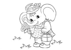 Baby Elephant with Flowers and Cake for Grandmother Coloring Pages for Girls