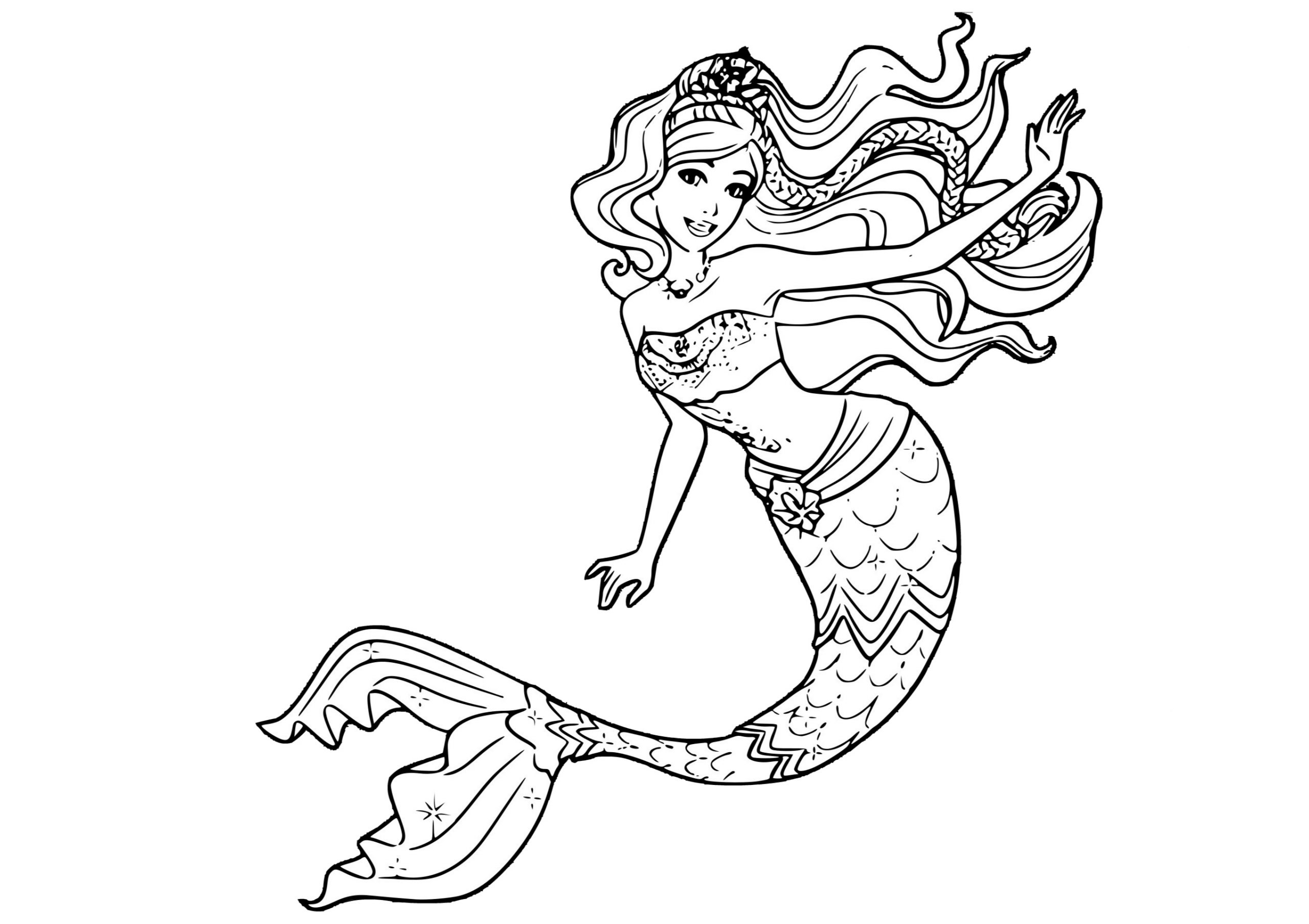 Beautiful Wavy Hair Mermaid Princess Coloring Pages