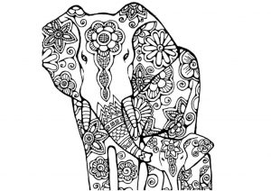 Calf and Mommy Elephant Mandala Adult Coloring Pages