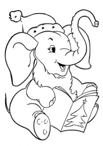 Christmas Santa Claus Elephant Coloring Pages