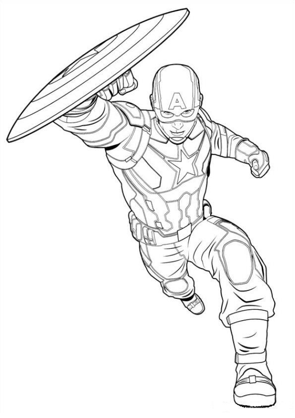 Civil War Captain America with Shield Coloring Pages