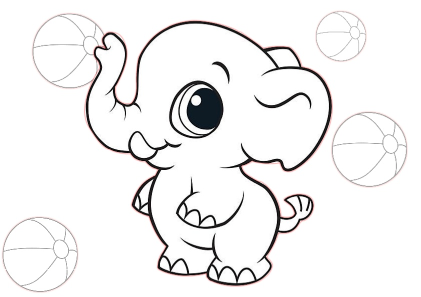 Cute Little Baby Elephant Coloring Pages for Toddlers