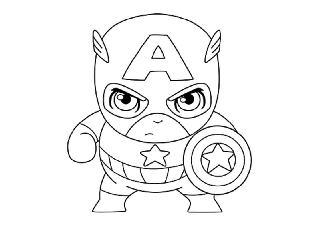 Cute Looking Baby Chibi Captain America Coloring Pages