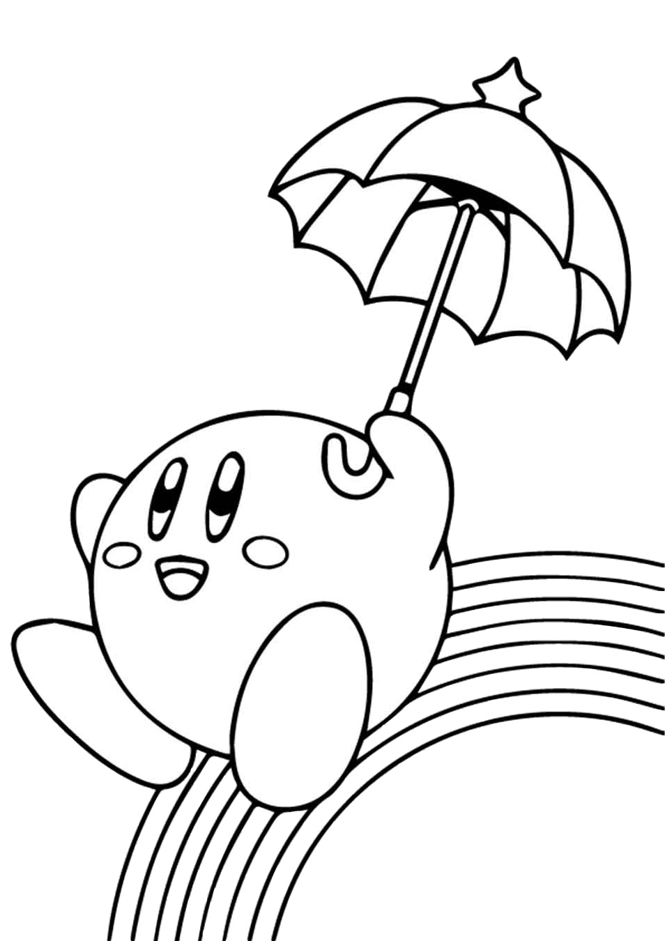 Cute Smiling Kawaii Rainbow Coloring Pages
