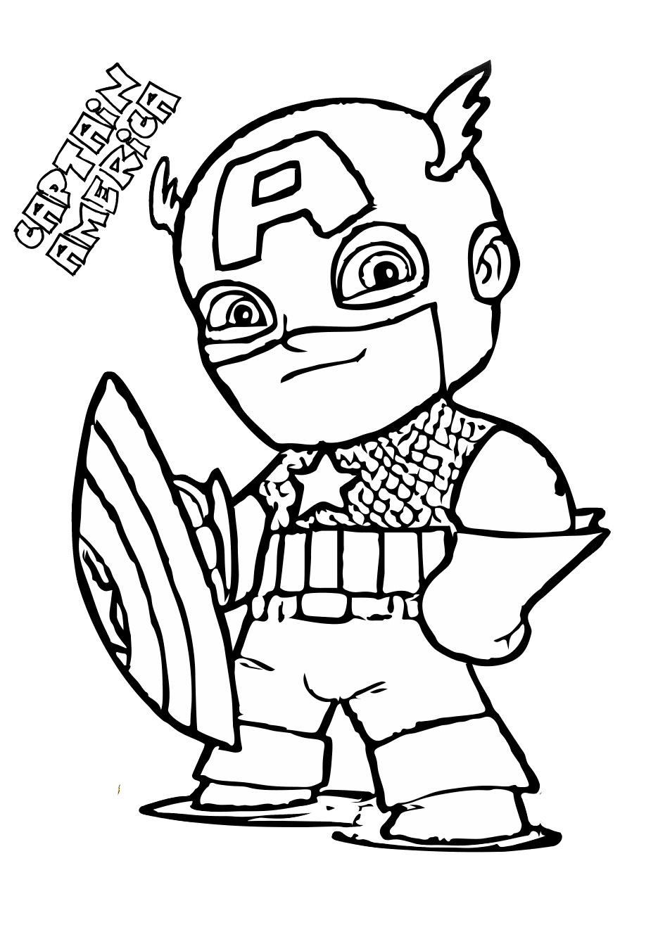 Cute Toddler Captain America Coloring Pages