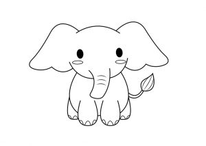 Easy Baby Elephant Coloring Pages