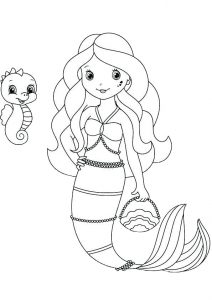 Easy Draw and Color Mermaid Coloring Pages for Preschool and Toddlers