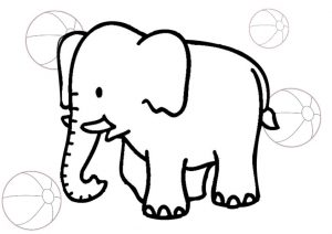 Easy to Draw and Color Preschool Elephant Coloring Pages