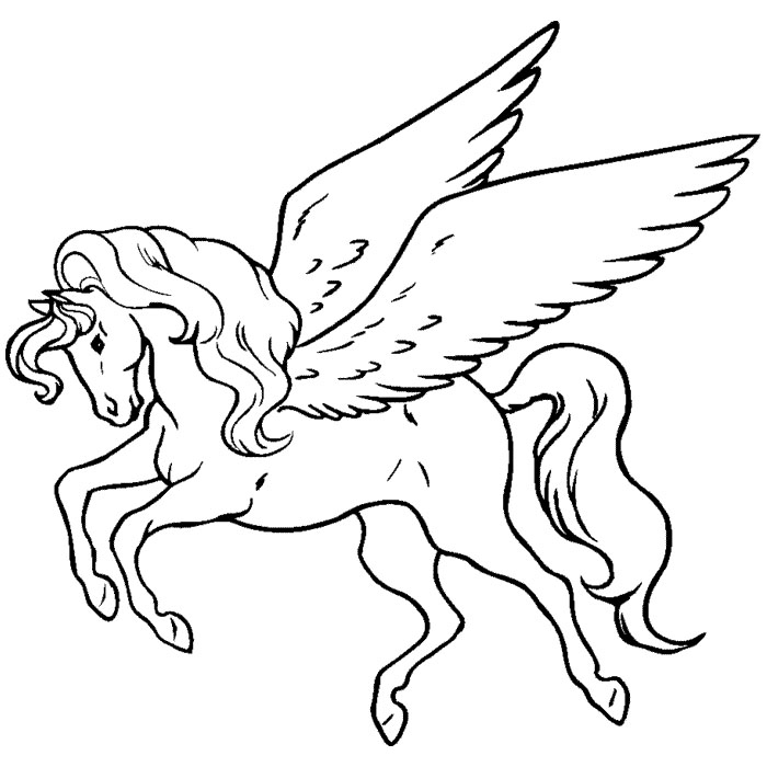 Free Printable Pegasus Son of Poseidon Coloring Pages for Girls