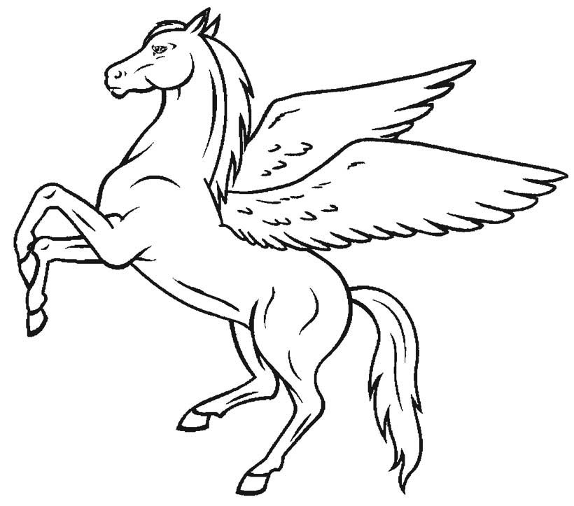 Free Printable Pegasus Winged Horse Coloring Page