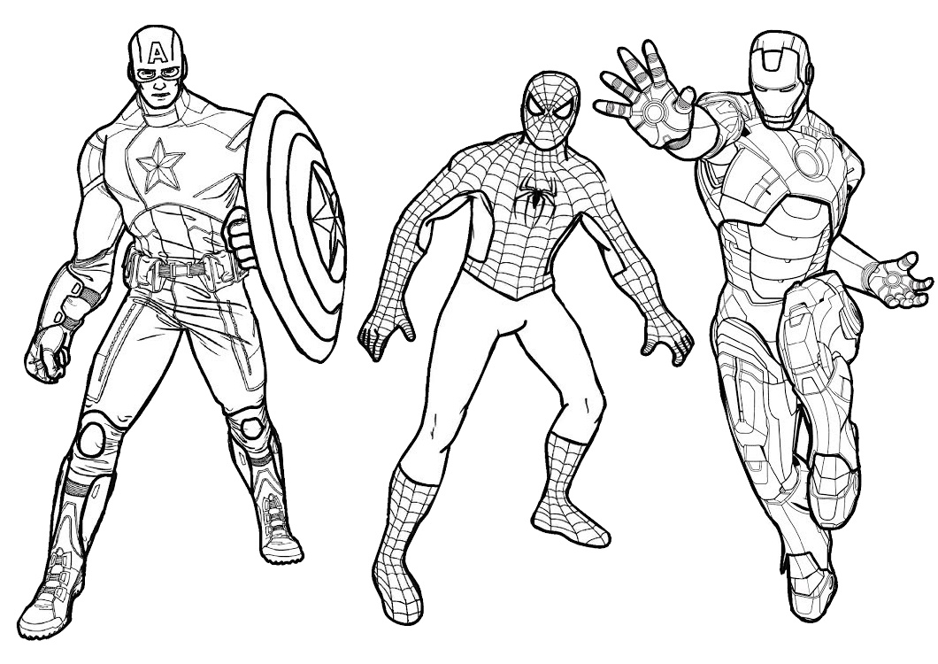 Free Printable Spider man Iron man and Captain America Coloring Pages for Kids