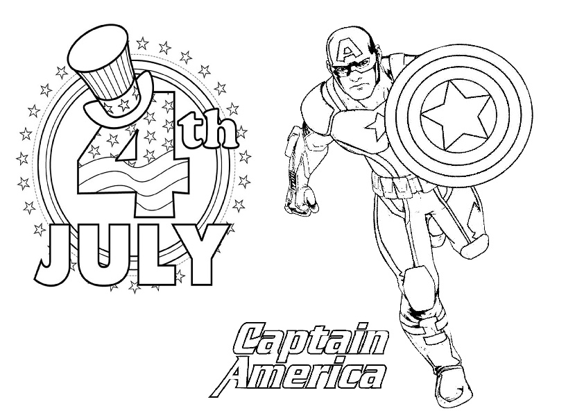 Happy 4th of July Captain America Printable Coloring Pages