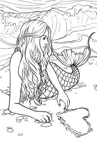 Happy Valentines Day Mermaid Sketch Coloring Pages Realistic Mermaid