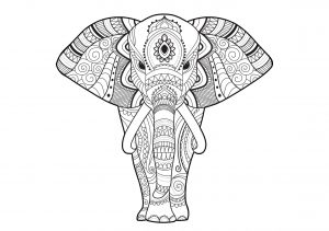 Hard to Color Elephant Mandala Coloring Pages for Adults