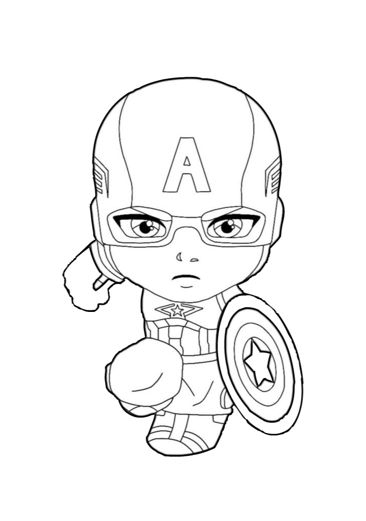 Little Captain America Chibi Coloring Pages