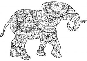 Majestic Mandala Elephant Adult Coloring Pages