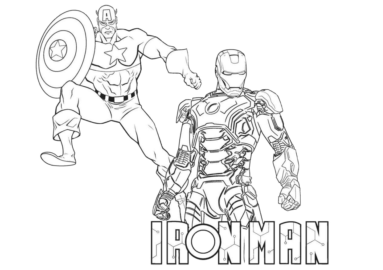 Marvel Comics Ironman and Captain America Coloring Pages