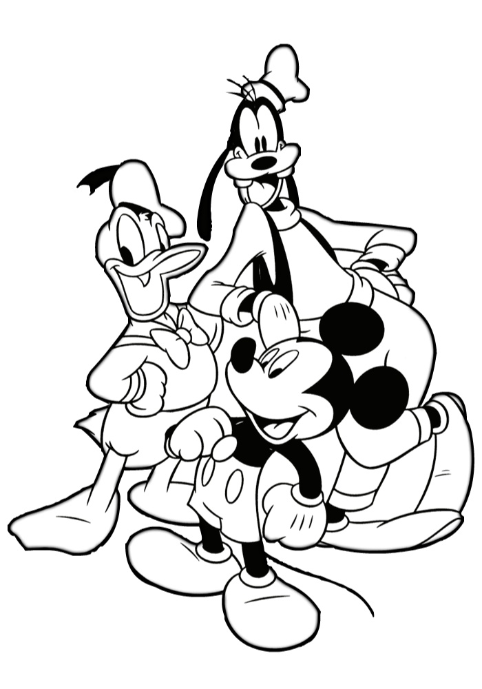 Mickey Mouse and Friends Donald Duck and Goofy Coloring Pages for Kids