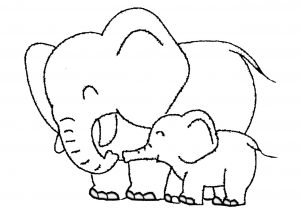 Mommy and Baby Elephant Smiling Together and Roaming Around the Forest Coloring Pages