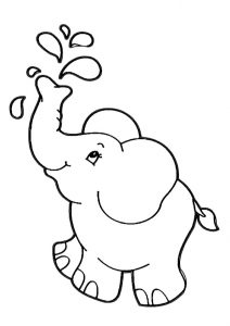 Naughty Little Baby Elephant Coloring Pages for Toddlers