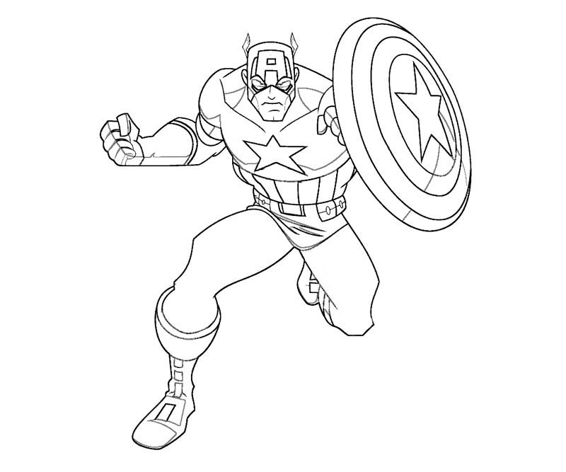 Old and Classic Captain America Coloring Pages Easy for Kids