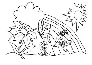 Preschool Toddlers Easy Spring Garden Butterfly Rainbow Coloring Pages