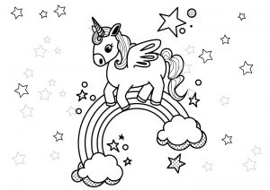 Printable Stars and Unicorn Rainbow Coloring Pages for Girls