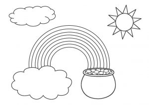 St Patricks Day Leprechaun Pot of Gold Rainbow Coloring Pages for Kids