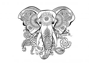 Stress Relieving Elephant Adult Coloring Pages Mandala Designs