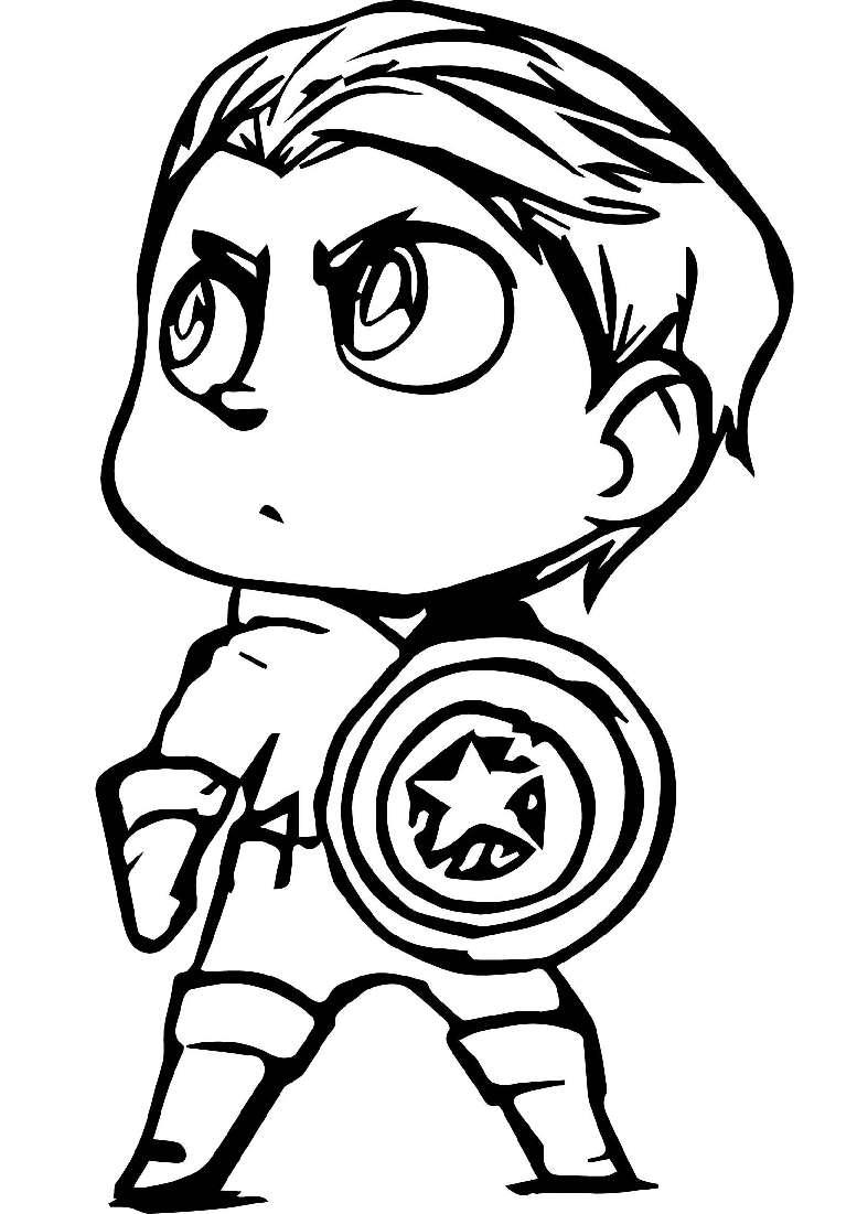 Very Cute Looking Captain America Coloring Pages Chibi Drawings