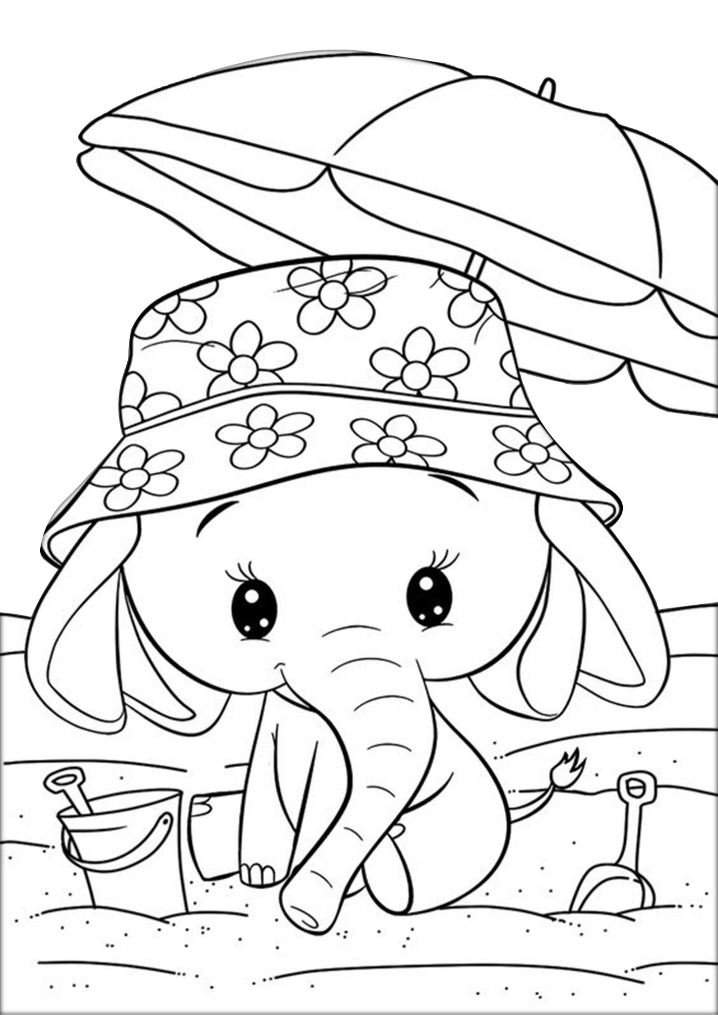 Very Cute adorable Little Elephant Coloring Pages - Print ...