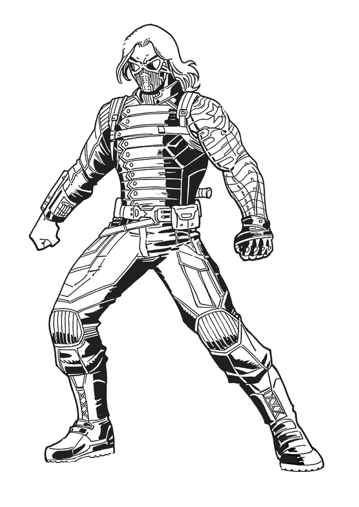 Winter Soldier Bucky Old Friend Captain America Coloring Pages