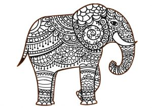 Zentangle Elephant Coloring Pages