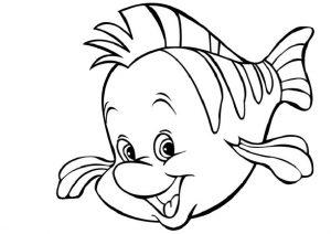 Ariel Mermaids Pal Flounder Fish Coloring Pages