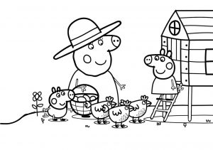 At Farm Peppa Pig with Chickens Near Chicken Coop Printable Coloring Pages