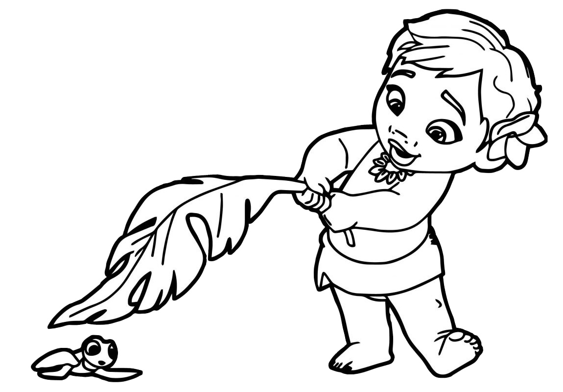Baby Princess Moana Disney Coloring Pages