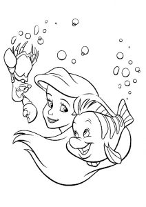 Beautiful Red Hair Ariel Mermaid and Pal Coloring Pages