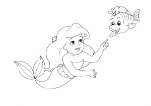 Cute Baby Fish and Little Mermaid Ariel Coloring Pages