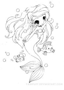 Cute Little Mermaid Chibi Character Coloring Pages