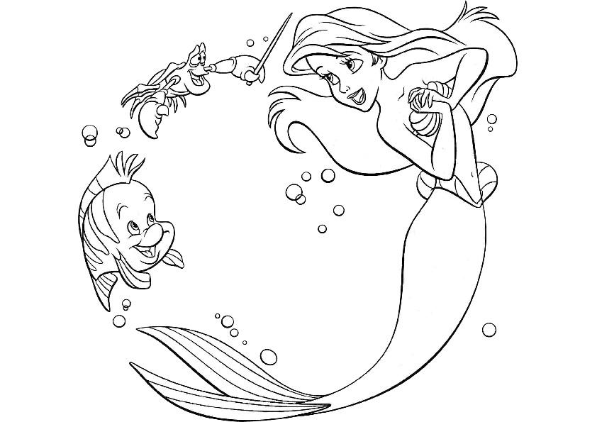 Walt Disney Coloring Pages Princess Ariel | 595x842
