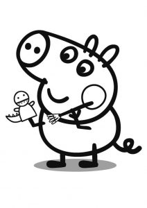 Easy for Toddlers Peppa Pig Coloring Pages George with a Dinosaur Hand Puppet
