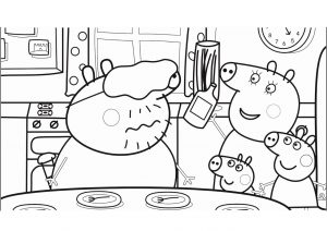 Funny Peppa Pig Family Coloring Pages Daddy Mommy Peppa and Brother George in Kitchen