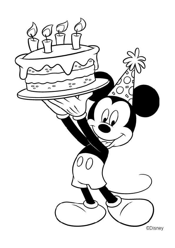 Happy Birthday Mickey Mouse with Celebration Cake Coloring ...