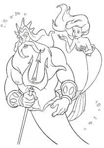 King Triton and Ariel Mermaid Underwater Coloring Pages
