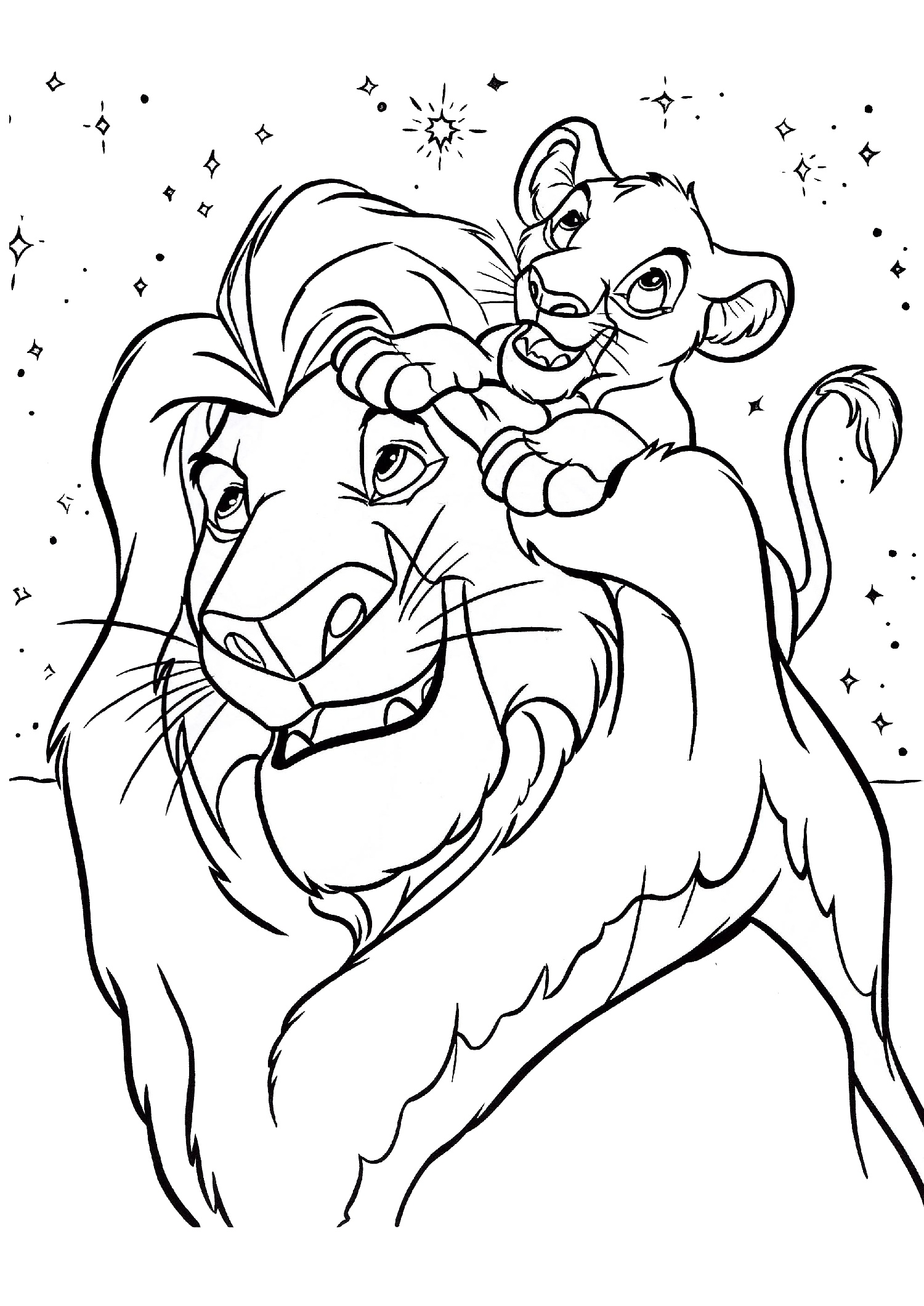 Lion King Mufasa and Simba Disney Coloring Pages