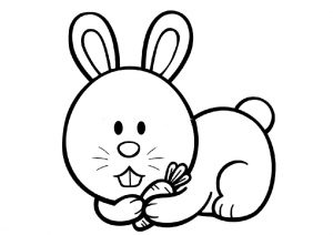Lovely Little Cartoon Rabbit with a Carrot Coloring Pages