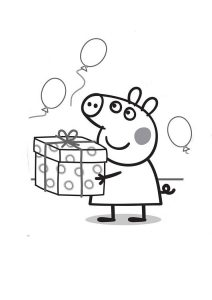 Peppa Pig Birthday Coloring Pages Happy Birthday and Balloons Peppa Pig